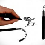 Шариковые ручки-нунчаки Kikkerland Nunchuck Pens