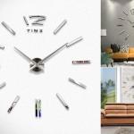 Клеящиеся настенные часы Modern Large 3D Mirrors Wall Clock