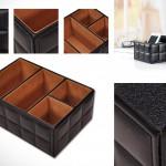Кожаный органайзер для канцелярии и мелочей на столе