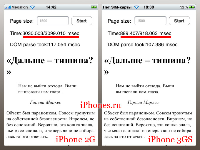 Быстродействие iPhone 3GS в сравнении с iPhone 2G