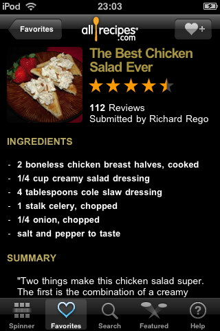 AllRecipes. DinnerSpinner vs. Epicurious