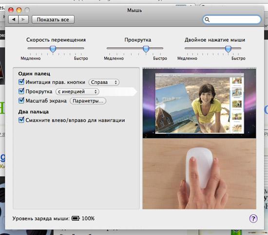настройка Magic Mouse в Mac OS X 10.6.2