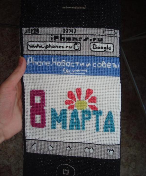 Инна Халтамова: вышитый крестиком iPhone