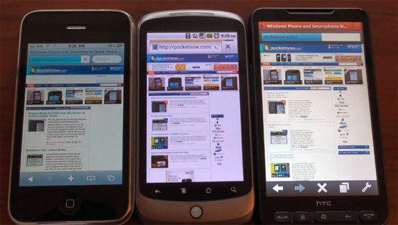 Сравнение Nexus One, iPhone 3GS и HTC HD2