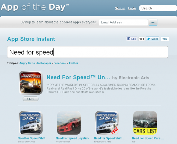 Сервис мгновенного поиска по App Store