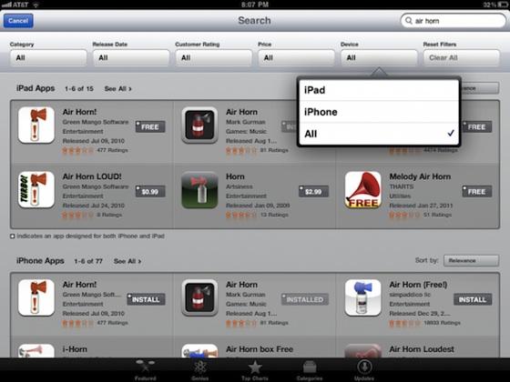 Обновление мобильного App Store для iPad: фильтры поиска и определение ранее купленного софта
