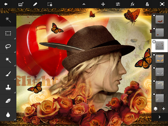 Photoshop Touch v1.3. Русский язык, Retina и Фотопоток