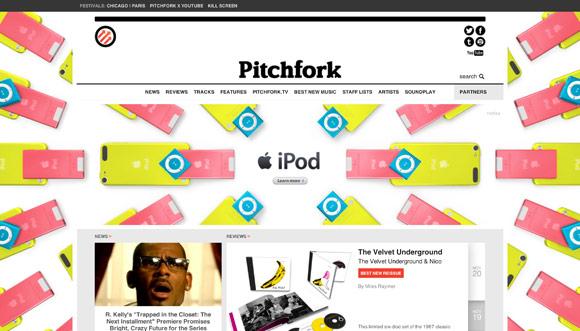 Линейку iPod рекламируют на сайте Pitchfork
