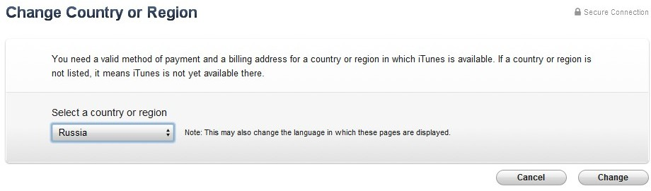 how to change country region on itunes account