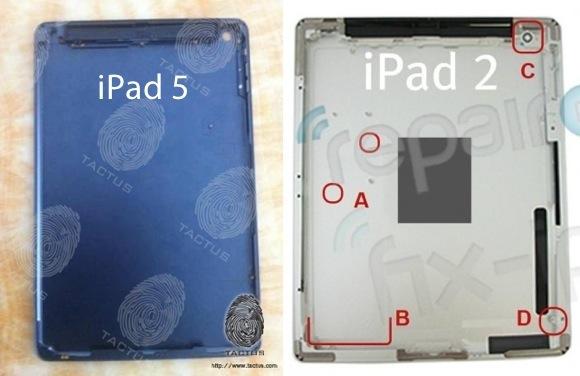 Фотографии внутренней части корпуса iPad 5 и SIM-лоток iPhone 5S