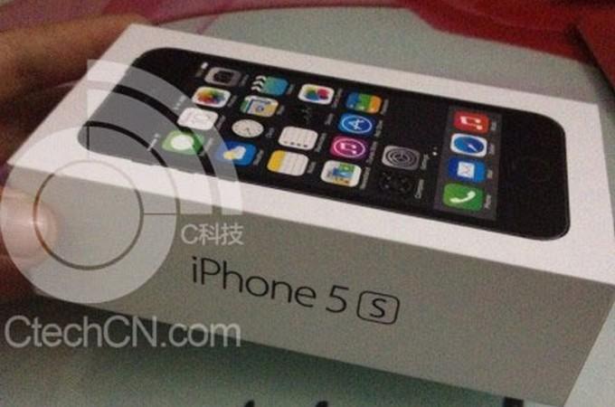 Коробка от iPhone 5S с изображением биометрического датчика