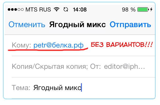 Почтовый клиент iOS 7 не отправляет почту на кириллические РФ-домены