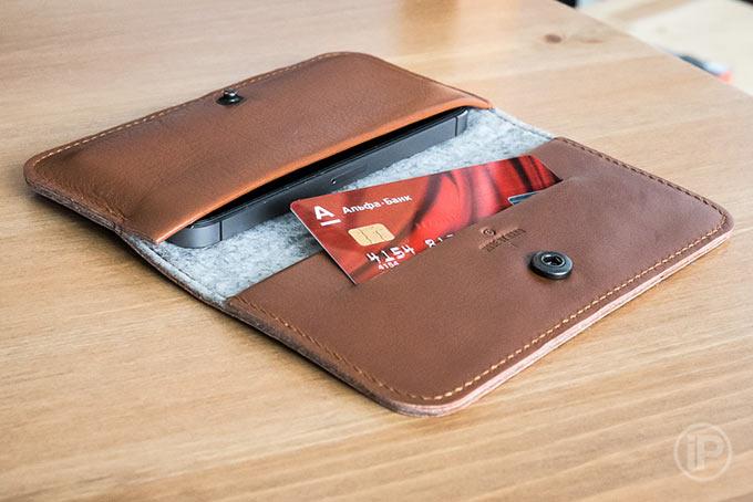d871bac76edf Обзор чехла-бумажника Handwers RANCH для iPhone. Много кожи и чуточку фетра