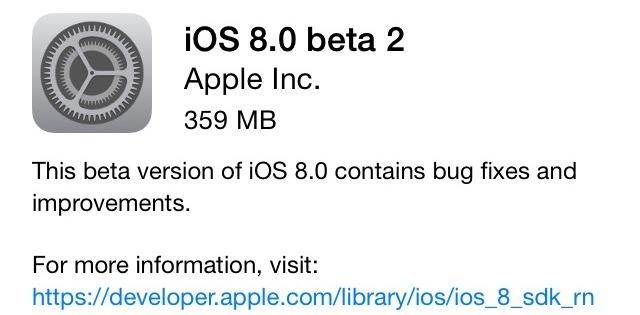 iOS 8 Beta 2 вышла