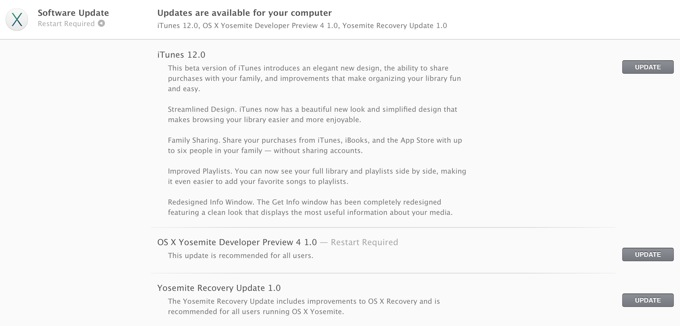 OS X Yosemite Developer Preview 4 и iTunes 12 вышли