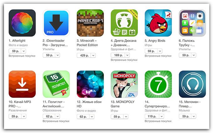 Новые цены в российском App Store. Теперь от 59 рублей