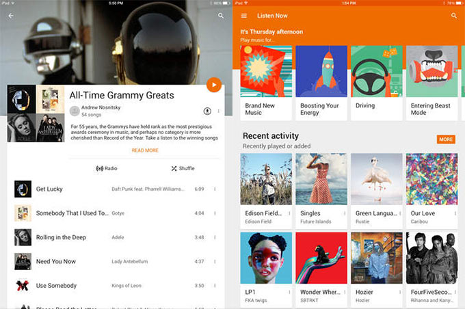 Google Play Music v2.0.3828. Теперь и для iPad
