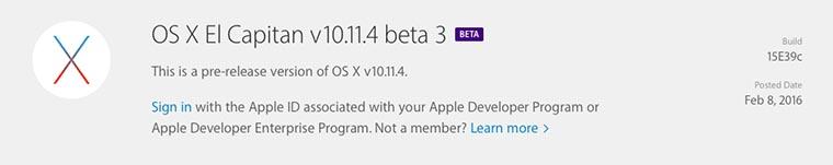 OS X El Capitan v10.11.4 beta 3