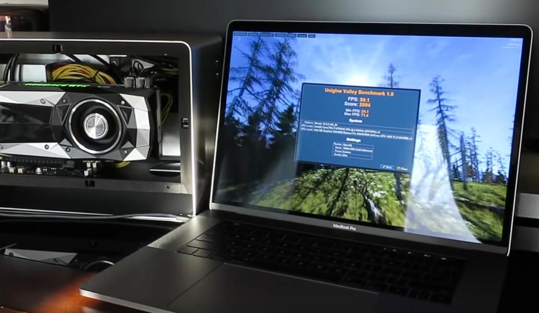 MacBook Pro 2016 с внешней видеокартой GeForce GTX 1080 Ti работает в четыре раза быстрее