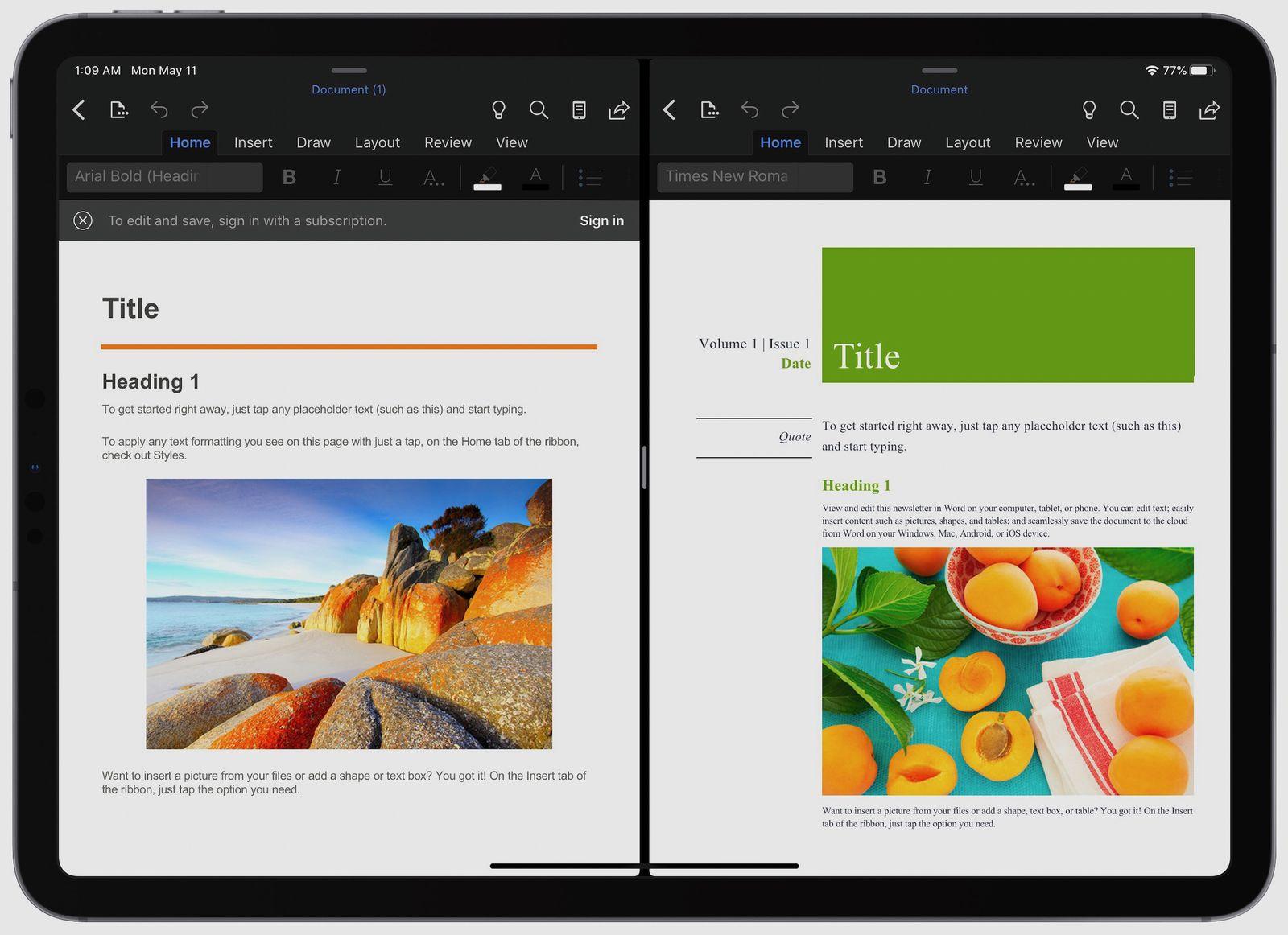 Microsoft Word и PowerPoint получили поддержку Split View на iPad