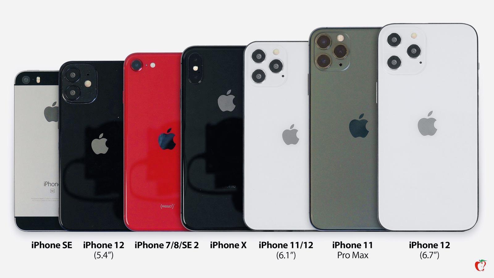 Сравнение размеров iPhone 12 и 12 Pro со всеми моделями айфонов