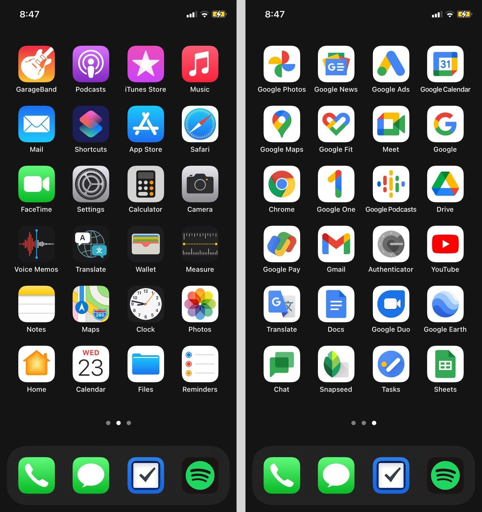 Слева иконки Apple, справа Google. Без комментариев